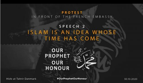 Denmark: Stand in front of the French Consulate entitled:  Our Messenger is our Example!