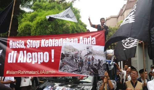 Indonesia: Protest in support of Aleppo in front of Russian Embassy in Jakarta