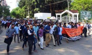 حزب التحریر-ولایه بنگلهدیش، راهپیمایی را به طرف سفارت امریکا در داکه بخاطر مخالفت در برابر به رسمیت شناختن بیت المقدس به عنوان پایخت دولت صهیونستی یهود از طرف امریکای صلیبی، بهراه انداخت